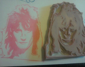 Rod Stewart Hand Carved Rubber Stamp