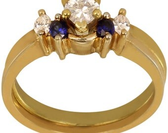 Solitaire Ring Enhancer Wrap W/ CZ & Sapphire Blue Gems In Heavy Gold Plated 14k