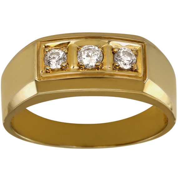 3 Stone 1ctw CZ Mens Ring Set In Heavily Plated 14kt Gold Mens