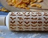 09 Bat pattern Halloween Engraved rolling-pin Cartoon Kids Embossed Rolling Pin Wooden Eco Engraved Housewarming gift Houseware