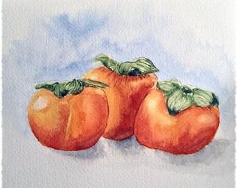 "Persimmons Watercolour Print 4x6"""