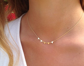 triangles necklace, gold triangle necklace, MER GOLD