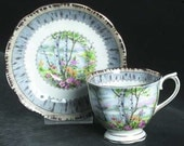Silver Birch by Royal Albert Footed cup & saucer - size 2 3/4in