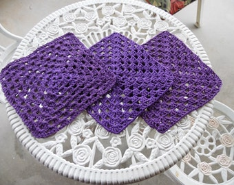 Granny Square Crochet 100% Cotton Wash Cloths set of 3
