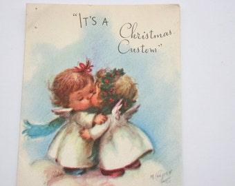 Vintage Marjorie Cooper Christmas Card, Cute Angels Kissing, 1950s 50s USED old Card, Scrapbooking