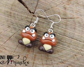 Earrings Goomba nasty mushrooms (fimo) Mario geek