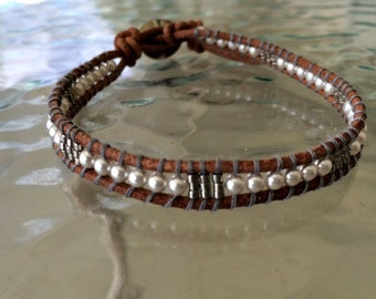 Leather Wrap Bracelet 3mm Swarovski Crystal Pearl White & White Gold 24 Karat Plated Beads on a Brown Leather with a Silver tone Button