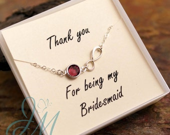 Bridesmaid Necklace with pearl or birthstone - Sterling Silver necklace with infinity charm