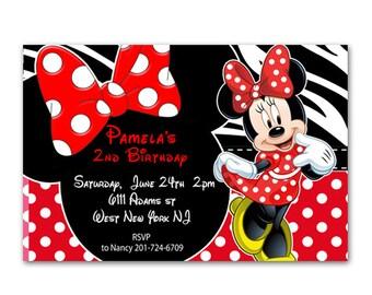 Red Zebra Print Minnie Mouse Birthday Invitation - Printable