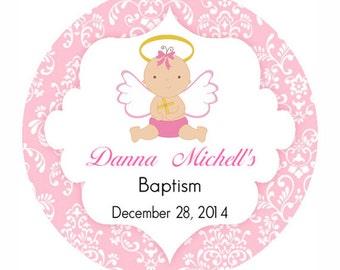 Pink Baptism angel label Cupcake Topper -christening sticker