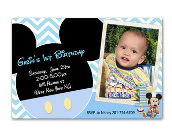 Mickey mouse 1st birthday invitation Etsy