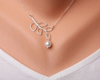 Leaf branch with Pearl necklace, Silver plated