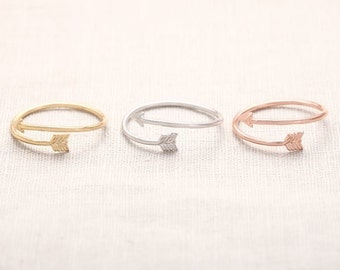 Adjustable Arrow Ring, silver plated