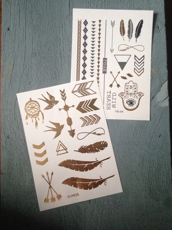 Gold leaf temporary tattoos by lovenesthomestore on etsy for Gold foil tattoo