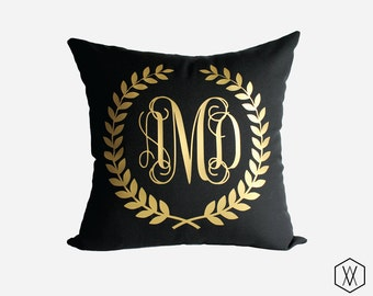 Gold Monogram Throw Pillow Cover - Gold, Silver, and More - Laurel Monogram Pillow Sham - Black
