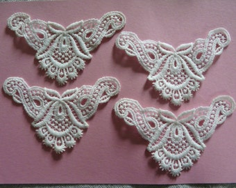 Vintage Embroidered Cream Cotton Motif - Craft/Card Making Embellishments x 4
