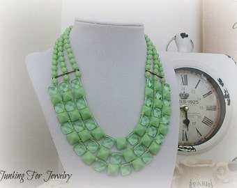 Vintage Multi Strand Necklace Green Lucite W Germany