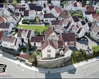 Game Stavanger - Traditional old Norwegian Town Photograph by Pro Photographer. Decorative Wall Art Print. Norway Village Scene.