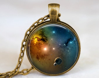 Planets -  Space Handmade Pendant Necklace