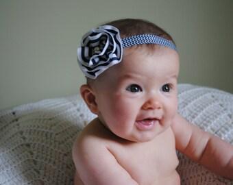 Navy Headband, White Headband, Flower Headband, Newborn Headband, Infant Headband, Baby Headband, Toddler Headband, Girl Headband, Headband