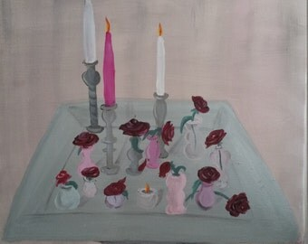Roses, and candles. candles and roses acrylic painting