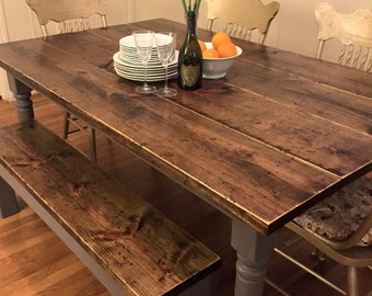 Rustic dining table. Dining table. Square leg dining table. Rustic table. Custom dining table. Antiqued dining table. Farmhouse table.