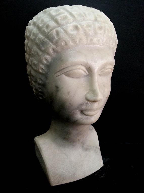 Roman white marble stone sculpture bast hand carved by