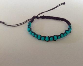 Beaded Turquoise Bracelet, Hemp Bracelet, Beaded Turquoise Anklet, Beachy Anklet, Adjustable