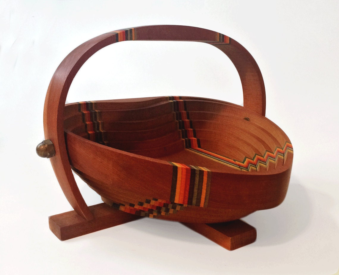 Handmade Collapsible Wooden Baskets : Collapsible wooden basket heart shaped with rainbow accent by
