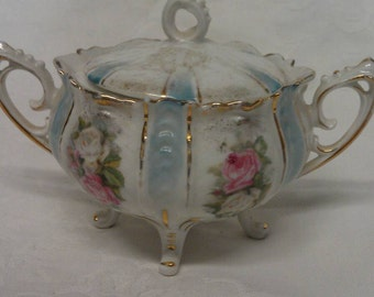 R S Prussia Pink Rose Sugar Bowl on Four Feet