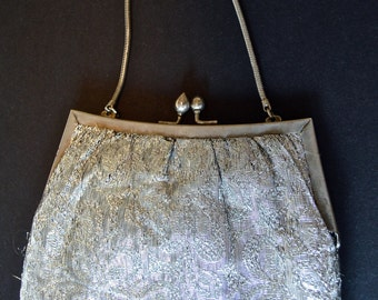 Vintage Silver Thread Purse from the 1960s (Hong Kong made)