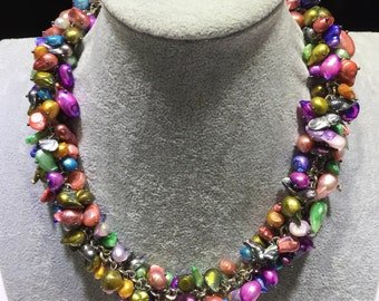 Multiple color mixed freshwater pearl necklace