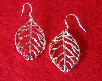 Solid 925 Silver Leaf Drop Earrings (E16)