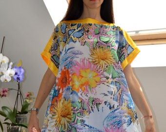 Beautiful Oversize Chiffon Floral Tunic/Dress/ Loose Tunic/ Multicolor Tunic/ Everyday Casual Tunic Dress / Beach Cover up/ Summer Fashion