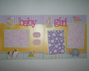 Baby Girl Premade Pages or Layouts Ready for 4 by 6 photos baby shower gift baby girl scrapbook pages