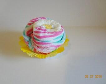 New Cupcake washcloth baby shower pink socks gift favor center piece diaper
