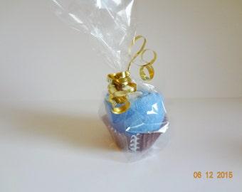 New Cupcake washcloth baby shower blue washcloth football boys gift favor center piece diaper