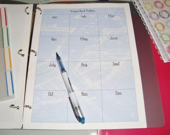 Printable important dates page for your agenda or dayplanner.