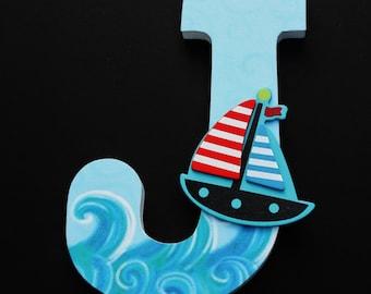 Nautical Nursery Letters, Custom Wood Letters, Ocean & Sailboat, Baby Shower Gift, Boys Room, Waves