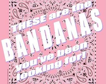 BANDANA - Bandanna. Premium Paisley Hav-A-Hank Bandana. PINK. Breast Cancer. Made in the USA.