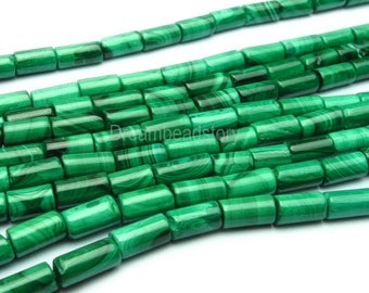 Malachite Gemstone Beads, Smooth Tube Cylinder Malachite Beads, Natural Green Malachite Stone Beads, 4*12mm Malachite Beads Supplies (Y74)