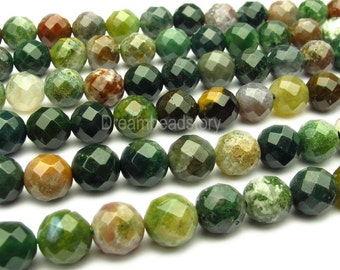 Faceted Agate Beads, 64 Facets Indian Agate Faceted Beads, 8mm Full Strand Round Agate Faceted Gemstone Beads for DIY Jewelry Making (Y23)