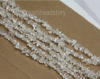 Crystal Chips, Genuine Clear Crystal Chip Beads, Long Strand White Crystal Quartz Gemstone   Chips, Chips for Jewerlry Craft Making (Y142)