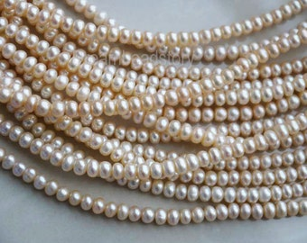 Pearl Rondelles, Freshwater Pearl Rondelle Beads, Genuine Rondelle Pearls, 5-6mm Natural Cream White Pearl Strands Supplies (ZZ42)