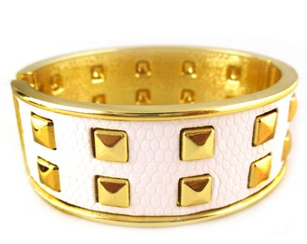 Studded Fashion  Bracelet Bangle Cuff Statement Jewelry RSB1336-BN, RSB1336-WHT