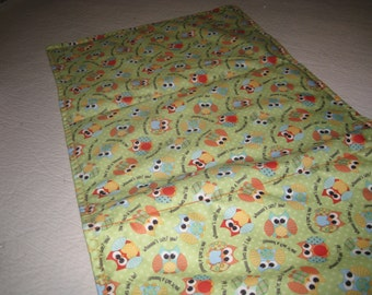 WIPEOFF CHANGING PAD --  Padded Green with Owls