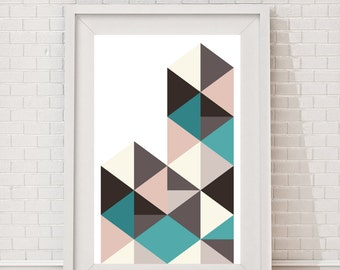 Abstract art, Geometric print art, Geometric wall art, Geometric artwork, Wall art, Triangles
