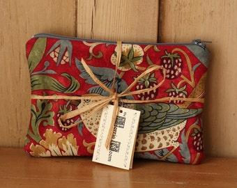 William Morris Strawberry Thief and Lily Leaf Bag Crimson