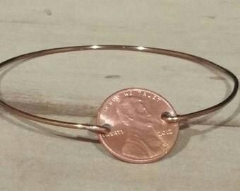 Lucky Penny Bracelet, gift idea for her, penny art, penny jewelry