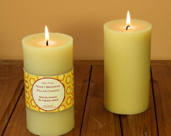 """Beeswax Pillar Candle 3"""" x 5.5"""" (44.00 per pair / Free Shipping)"""